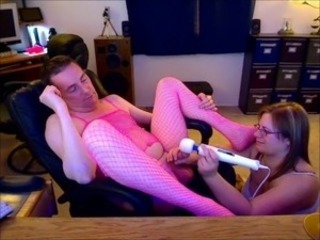 Massaging Sissy Hubbys Tiny Hard Dick