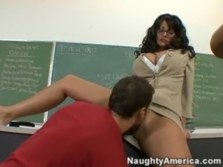 Big Tits Glasses Licking  School Teacher