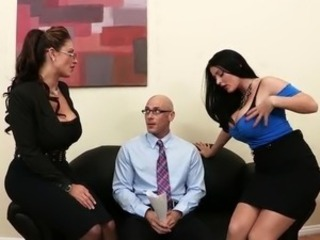 Big Tits Glasses  Threesome