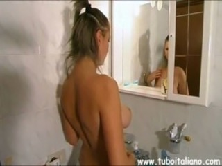 Amateur Bathroom European Italian Teen
