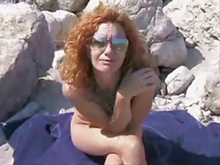 Beach Glasses Mature Nudist