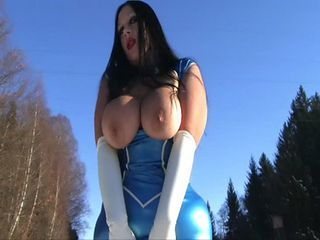 Schokomaus in blue latex and white boots gives blowjo...