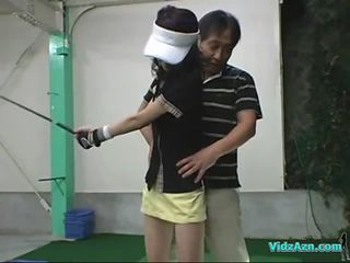 Asian Girl Giving Blowjob On Her Knees For Her Golf I...