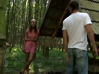 Naughty Girl takes two Cocks in the Forest!