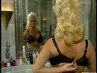 Amazing Bathroom Big Tits Blonde Lingerie  Mom