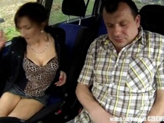 Czech aged Hooker bumped inside Car
