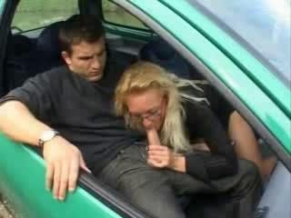 Blonde Blowjob Car Clothed European French Glasses  Old and Young Outdoor