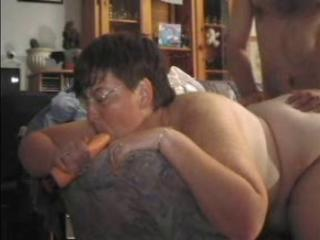 GRANNY Confer 11 bbw mature with a suppliant on a sofa