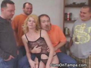 Multiple Guys Play With Blondes Pussy At Tampa Gangbang Party