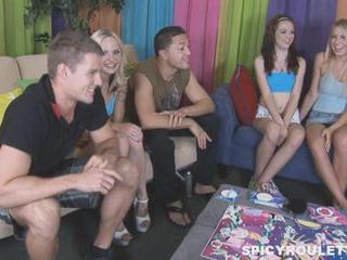 8 College Teens Play Entertaining Pencil Game And Fuck