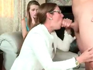 MILF And Teen Suck Cock Together