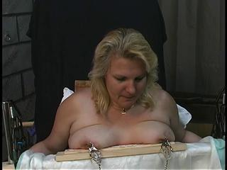 Old man tortures chubby blonde&#039,s big tits
