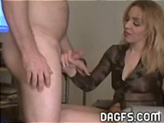 Blonde wife needs money so she sucks this guy's cock for some cash