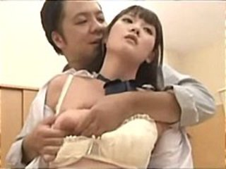 Young Asian schoolgirls line up to have a turn acquiring drilled by rub-down the teacher