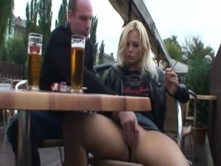 Amateur Drunk Girlfriend Outdoor Public Smoking