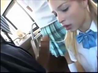 Blowjob Bus Clothed Public Student Teen Uniform