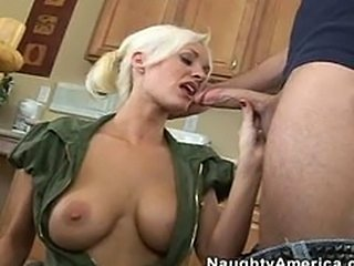 Amazing  Blonde Blowjob Kitchen  Natural
