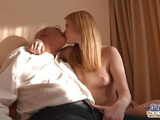 Horny redhead girl gets a sex sale from an oldje tubes