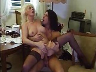 Blonde mature blows and rides younger man tubes