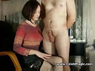 Amateur  Handjob Homemade  Stockings Wife