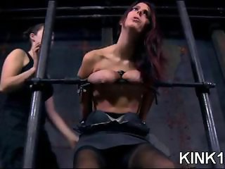 Cute submissive has head stuffed in clear plastic and bound