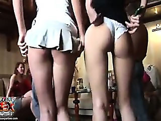 Slender party girls getting naked