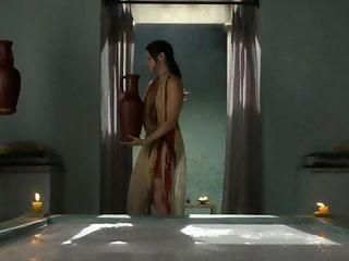 Lucy Lawless Spartacus Bath forcing servant to disrobe