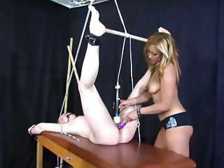 Blonde mistress is fucking will not hear of tied up slave with toys and vibrator