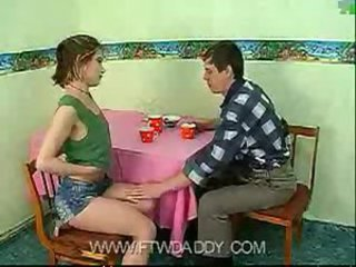Dad fucked young teen daughter on table at home