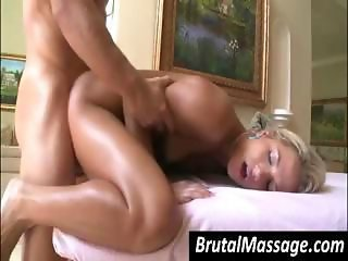 Blonde babe went for a massage and gets a great fuck from the masseuse