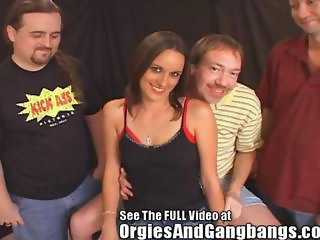 The guys strip Danica naked exposing her natural tits and pierced shaved pussy. Dirty D moves the party on to the sex table to tag team Danica. The rest of the crew takes their turns banging Danica and shoot their cum loads on her pretty face a