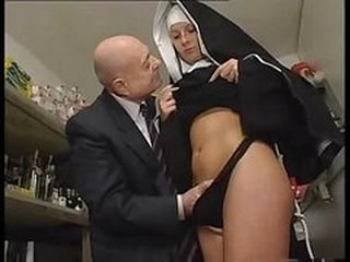 Nun plus a dirty old man get to playing around with her pussy