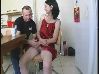 Amateur European French Kitchen Teen
