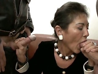 Blowjob Clothed Mature Office Threesome