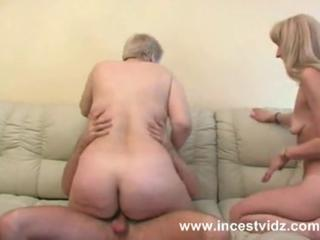 Amateur Mature Mom Old and Young Riding Threesome
