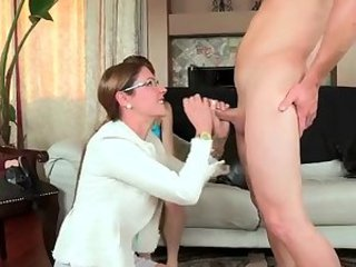 Glasses Handjob  Mom