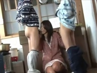 Asian Blowjob Clothed  Threesome