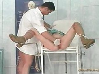 Doctor fists soaking wet mature pussy tubes