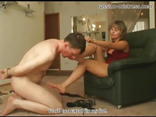 Bound guy licks her feet and gets trampled tubes