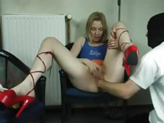 He fists her box while she rubs her clit tubes