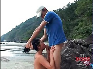 On the beach with a cute cocksucking latina tubes