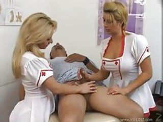 Amazing Handjob  Nurse Threesome Uniform