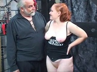 Chubby Daddy Daughter Old and Young Redhead