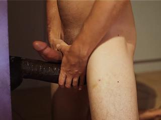 Sissy Boy + Huge Black Dildo + Poppers