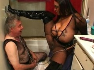 Big Tits Daddy Femdom Fetish Lingerie  Old and Young Slave