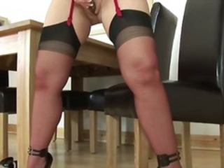 European slut gets herself off with dildo