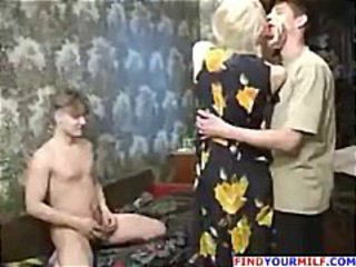 Naughty mom with two young guys