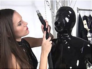 Nasty Lesbian Covered In Black Latex Sui...