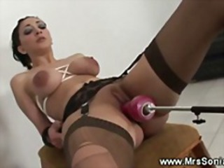 Sweet slut fucked with sex machine