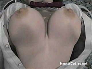 busty dark haired hentai babe gets her vagina whacked by a ghost